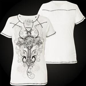 Ss shirt Weiß Sinful By Affliction Damen Western T Harlow qnnTPYIw