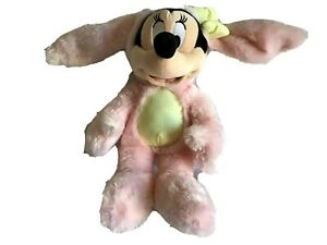 DISNEY-STORE-Minnie-Mouse-15-034-Pink-Easter-Bunny-Floppy-Ears-Stuffed-Animal-NWOT
