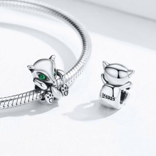European Fashion Argent Sterling 925 petit renard Charme Bijoux Fit Bracelet Chaîne