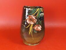 Impressionniste, rare Vase en Faïence Peint à la Barbotine. Saint Clément. XIXe