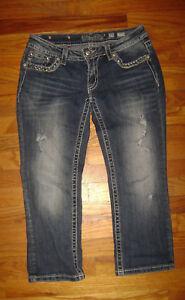 Me polsini Denim Jp7189p con Miss taglia Jeans Capri 29 Pantaloni donna e Blue risvolto Med xEZF78