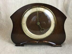 Art-Deco-Mantle-Clock-English-Mid-Century-Wooden-Smiths-London-Clockwork