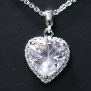 Details About Heart Cubic Zirconia Pendant Necklace Wedding Anniversary Jewelry Love Gift Box