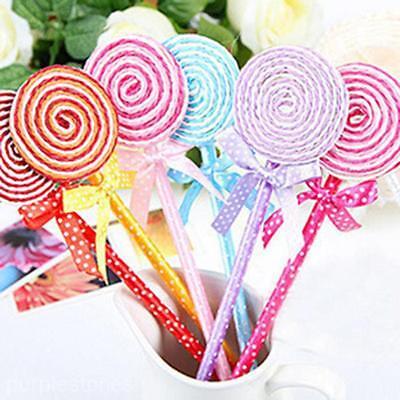 12PCS Flat Shape Lollipop Ball Point Pen Kids Toys Cute Stationery School Gift