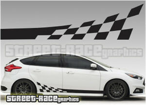 Ford Focus Side Racing Stripes Flags Decals Stickers Graphics - Car decals designnew design full car body stickers for ford focus golf mg