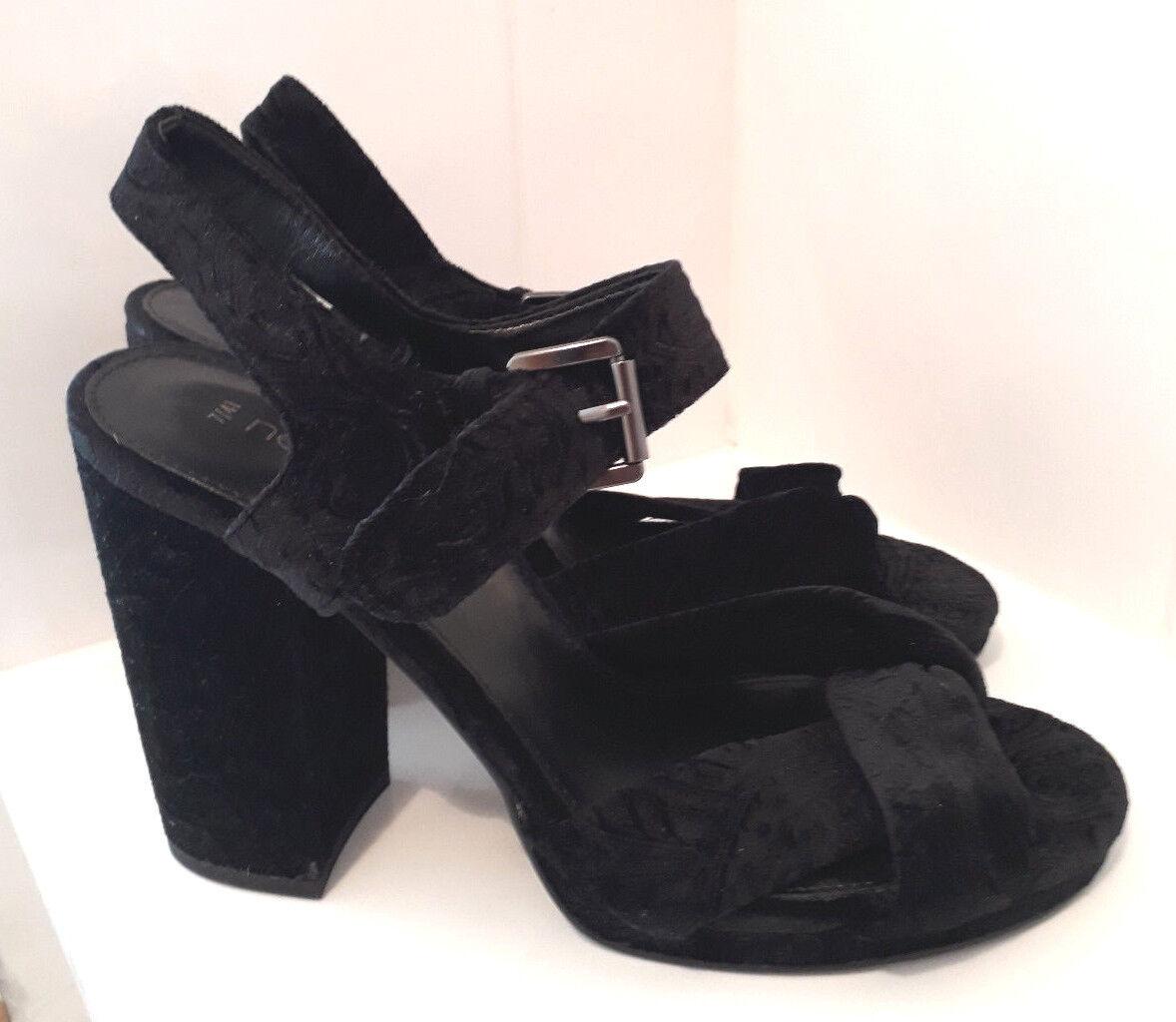 NEXT Black Embossed Velvet Chunky High Heel Party Sandals Sz  7  41 NEW RP