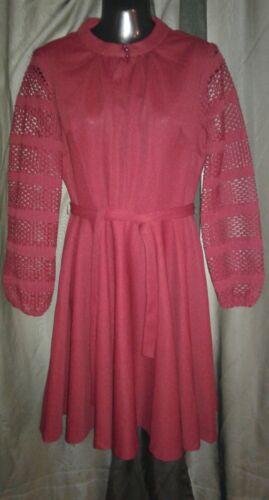 Vtg. 60's MAROON Knit DRESS Women's Size 16 1/2