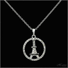 Pairs Pier Eiffel Tower In Circle Necklace Pendant Jewelry Charm Silver T Clear