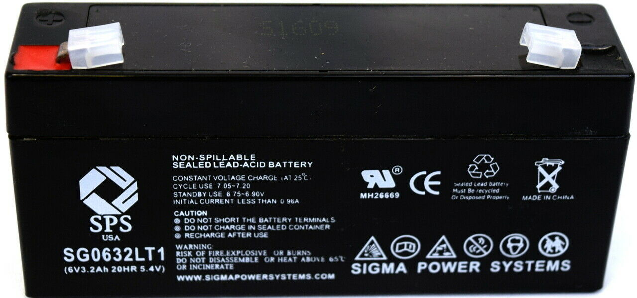 SPS Brand 6 V 3.2 Ah Replacement Battery with Terminal T1