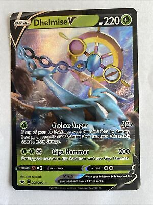 Pokemon TCG Sword and Shield 009//202 Dhelmise V Holographic Rare Card