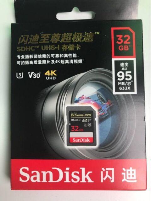 Sandisk 32GB V30 U3 Uhs-I 633X Extreme pro SDHC SDSDXXG-032G Scheda di Memoria