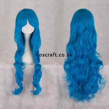 80cm long wavy curly cosplay wig in peacock blue, UK seller, Jeri style