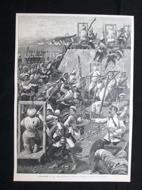 Lotta alla baionetta nell'esercito russo Stampa del 1902