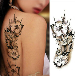 2x Feather Flower Temporary Fake Tattoo Women Sexy Body Painting