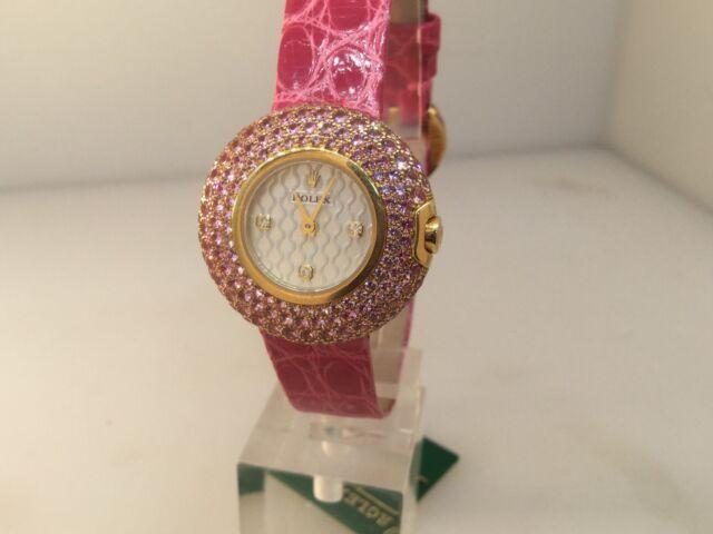 rolex cellini gold pink sapphire ladies watch 6201 8 500 retail ebay