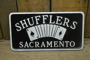 SACRAMENTO-SHUFFLERS-VTG-STYLE-CAR-CLUB-PLAQUE-HOT-ROD-CUSTOM-RAT-SCTA-NHRA-AUTO