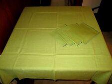 "(M) Set of 5 - Olive Card Tablecloth (42"" Sq) w/ 4 Napkins (15"" Sq)"