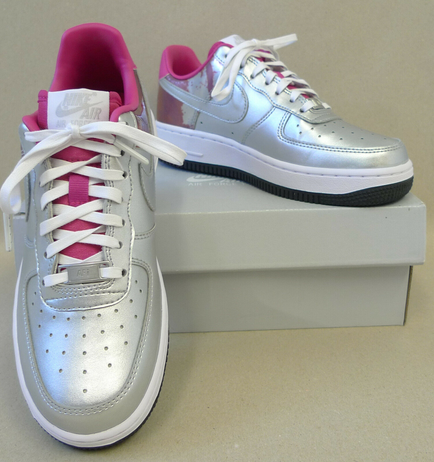 Nike Turnschuhe Air Force 1 One Wmns col. metallic Silber Rosa o Blau div. Gr (SB)