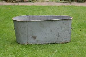 Details About Antique Galvanized Bath Old Metal Washing Tub Vintage Tin Retro