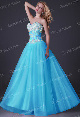 Sexy Beaded LONG Prom Ball Cocktail Formal Evening Party Prom Dress Quinceanera