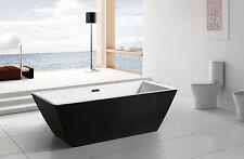 "Modern Black Acrylic Freestanding 71"" Square Bathroom Soaking Shower Bath Tub"