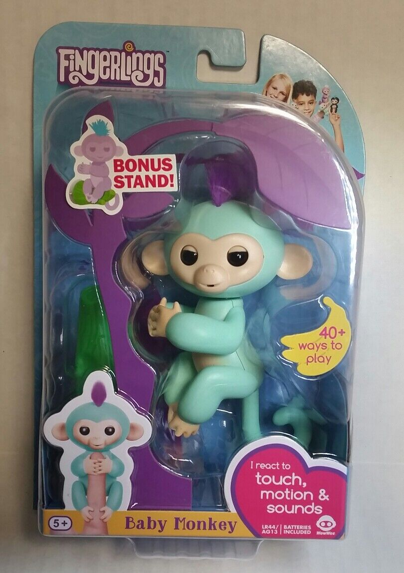 Fingerlings Baby Monkey bluee Zoe WowWee Batteries Included