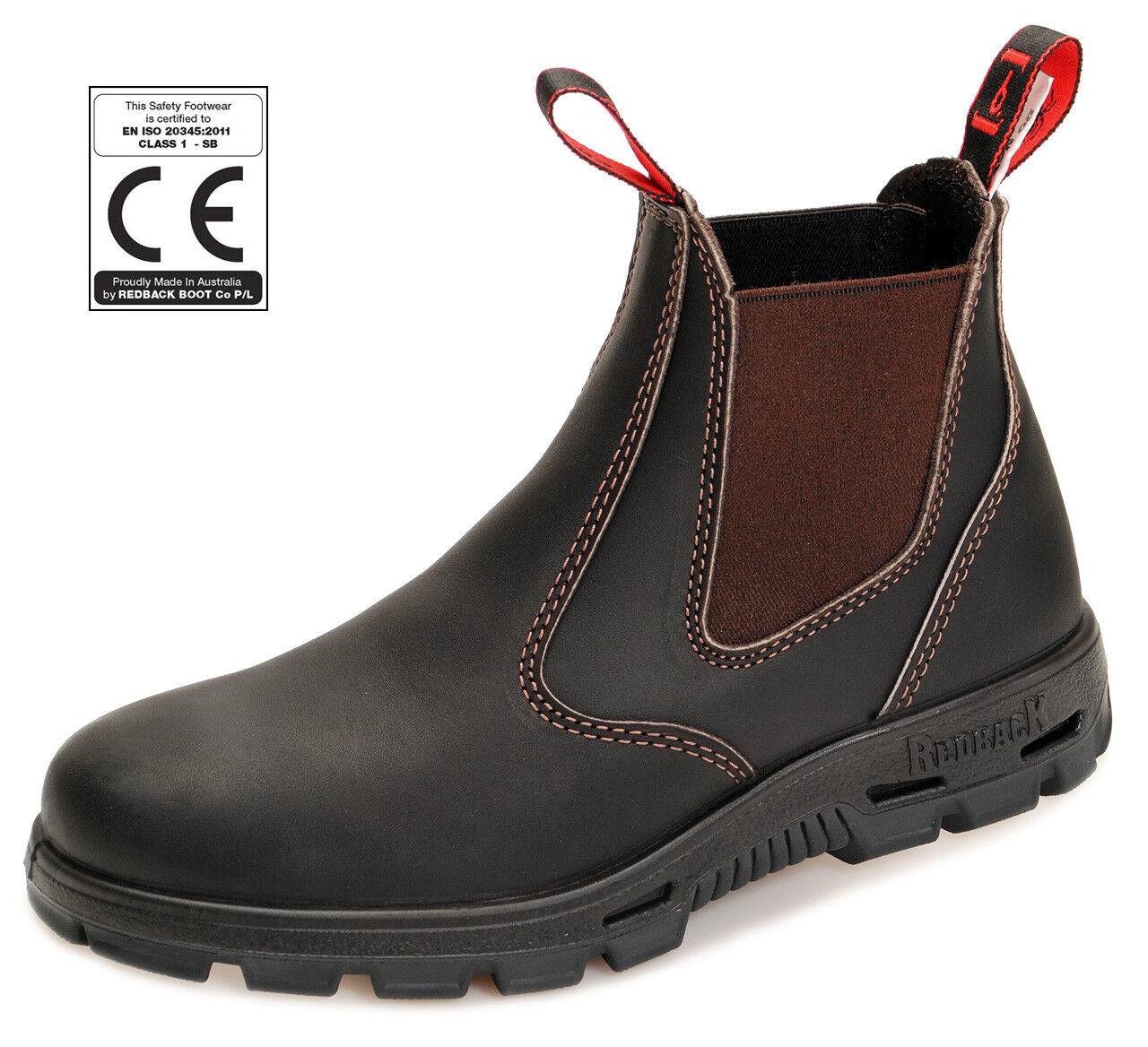 ROTback Safety Stiefel - mit schwarzer Sohle BUSBOK claret-Braun + Schmunzelfehler
