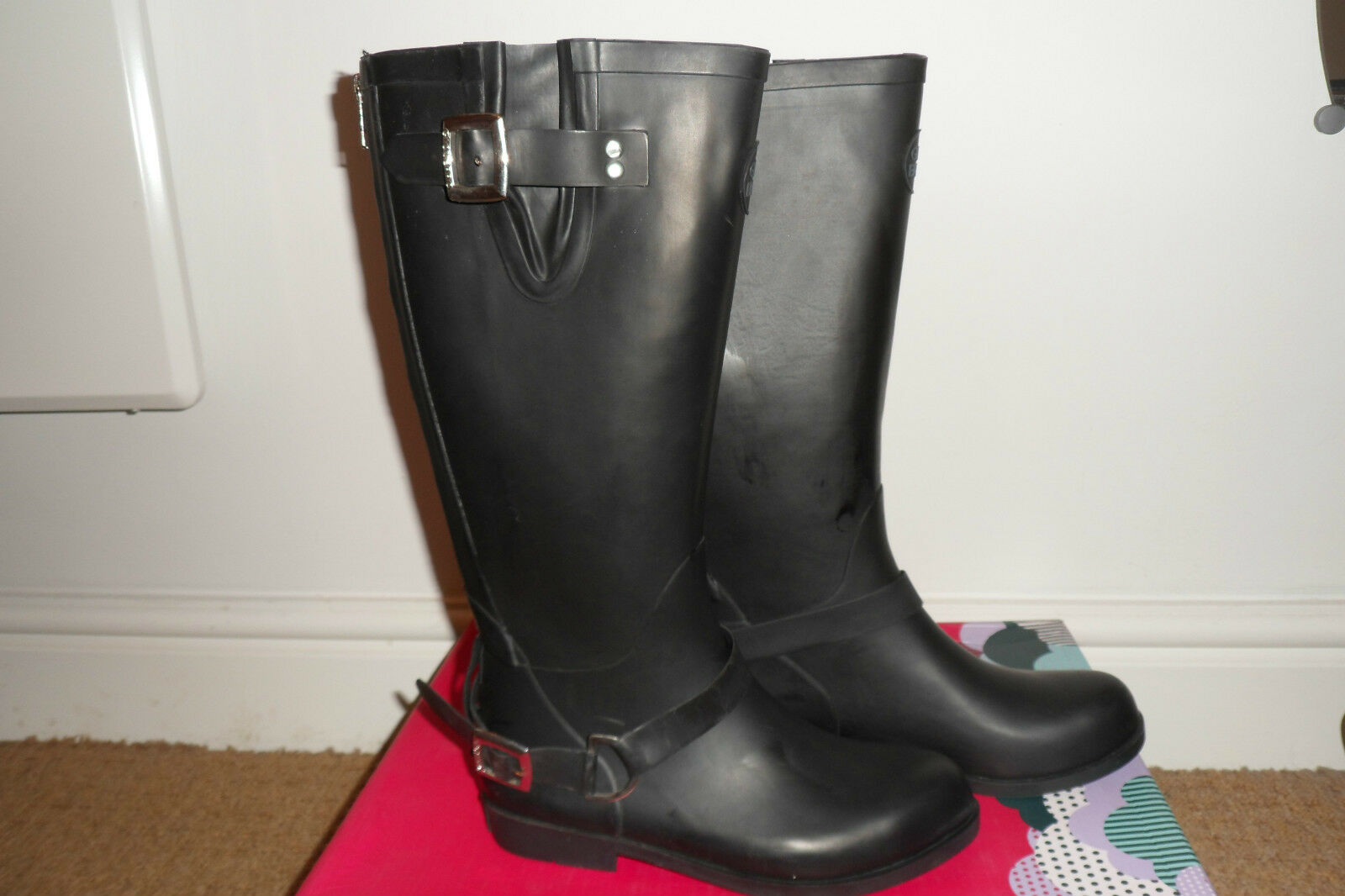 Ladies Gioseppo designer black wellington boots size 36  NEW