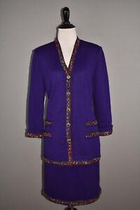 ST-JOHN-COLLECTION-1495-2-Piece-Santana-Knit-Purple-Skirt-Suit-Size-6-10