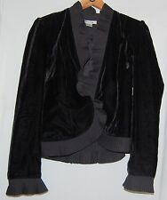 Vintage Peter Nygard  80s Women's Jacket Black Velvet Ruffle Shrug Coat 8