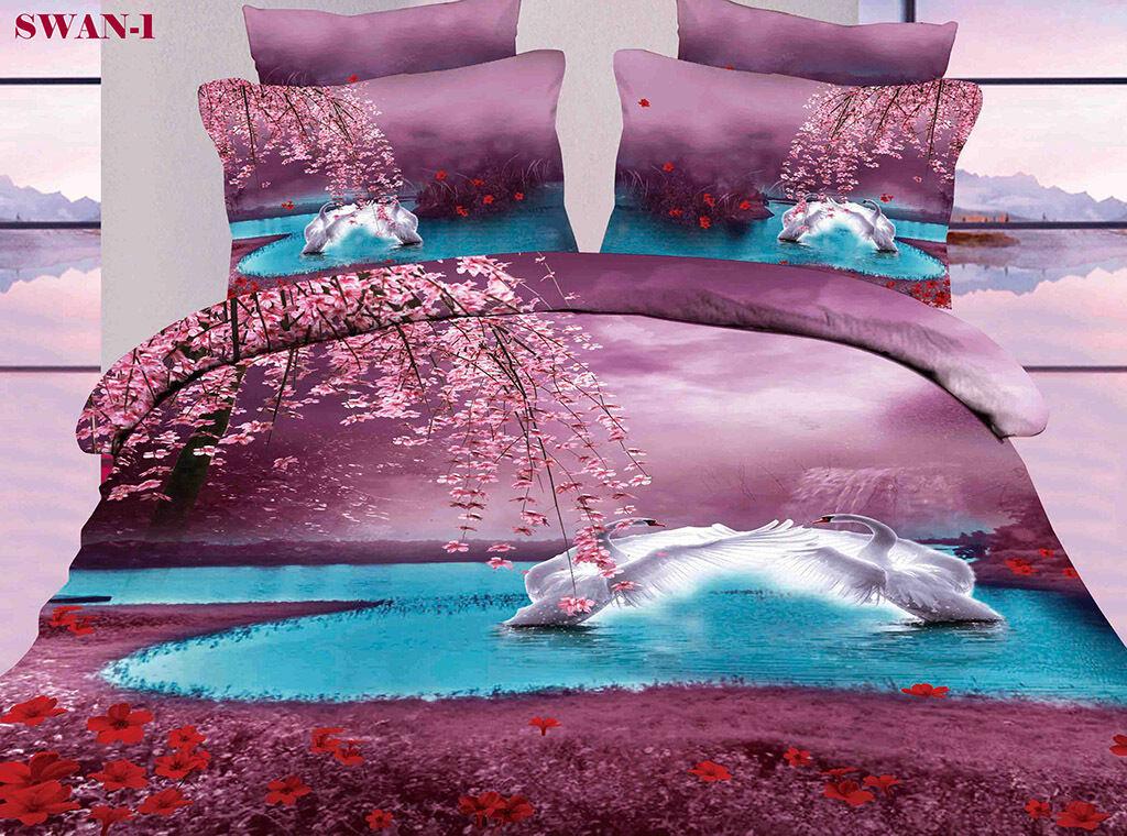 SWAN-1 Queen King Size Bed Duvet Doona Quilt Cover Set New