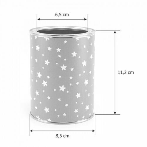 12 Dreikant Buntstiften Kinder Stifteköcher Stiftebecher Sterne grau//weiß inkl