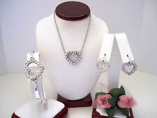 "Brighton ""U R LOVED"" Heart Necklace-Earring-Bracelet Set (MSR$130) NWT/Pouch"
