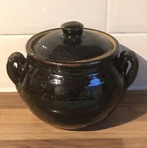 Vintage Handmade Storage Jar/ Pot With Lid. Rustic Brown. Handles 16x18 Cm