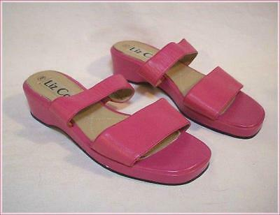 LIZ COLE Pink Leather Double Strap Slide Slip-on Sandals Size 7 M