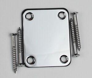 Chrome-Guitar-or-BASS-Neck-Plate-4-bolt-w-Screws