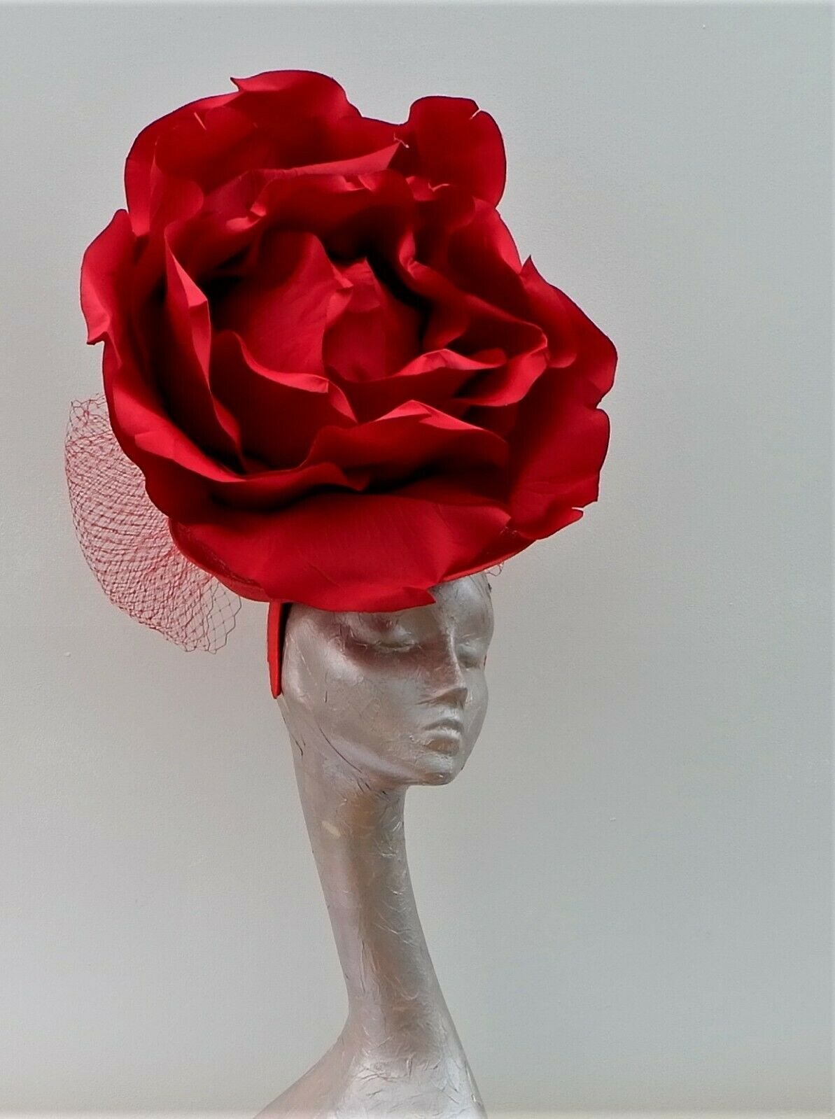 GIANT 50CM RED ROSE FASCINATOR IDEAL FOR ASCOT BY HATS2GO MADE TO ORDER