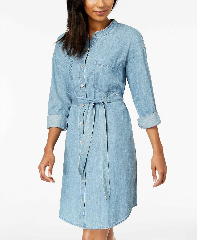 NWT Eileen Fisher Mandarin Collar Belted Tie Waist Shirt Dress,denim, S, Cotton