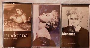 Madonna-True-Blue-Like-a-Virgin-Self-Titled-Cassette-Vintage-Lot-FAST-SHIP