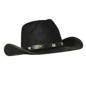 ef70ab1f3121b5 Image is loading Adult-Black-Felt-Cowboy-Hat-Studded-Stetson-Fancy-