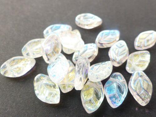 30pcs CHOICE OF 10 COLOURS - 12 CZECH GLASS LEAF DROP BEADS mm