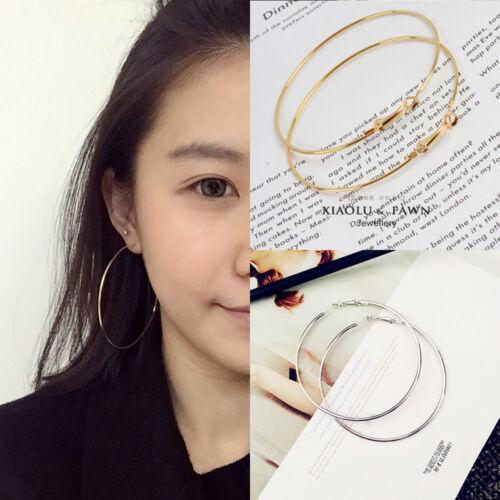 Fashion Women Gold Silver Metal Smooth Big Circle Large Hoop Earrings Jewelry