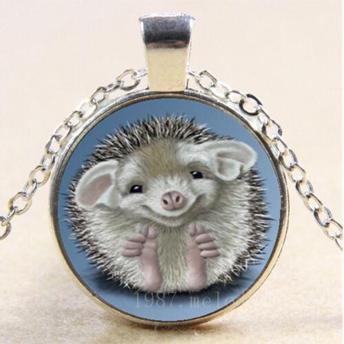 NEW Cabochon Glass Necklace Silver woman pendants(cute Hedgehog)A902