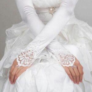 Women-Fingerless-Lace-Sequins-Satin-Bridal-Glove-Long-Opera-Wedding-Gloves-White