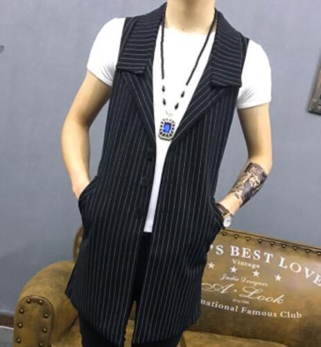 Men Formal Slim Lapel Long Chic Waistcoats Leisure Sleeveless Trench Vest Jacket