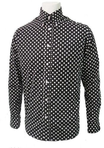 Relco homme polka dot col boutonné 100/% coton shirt à manches longues Sm-3XL