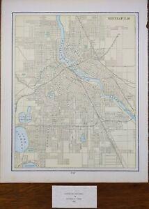 "Vintage 1900 MINNEAPOLIS MINNESOTA Map 11""x14"" ~ Old Antique MINNEHAHA FALLS"