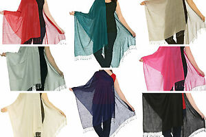 Luxurious-Kashmiri-80-Wool-amp-20-Silk-Pashmina-Shawl-Wrap-Scarf-11-Colours
