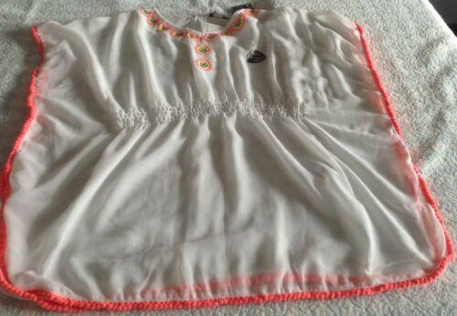 Traje de baño playa Encubrir Niñas Caftán Blusa Prenda para el torso Blanco Coral Lentejuelas año 2-7 Nuevo