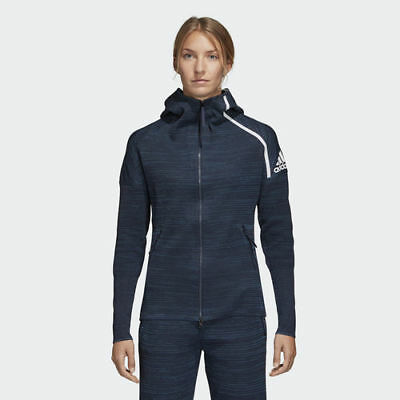 Adidas DM4441 Women Athletics W ZNE Parley hoodie Track top jacket navy | eBay